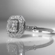 Asscher Cut Diamond Solitaire Ring in Platinum