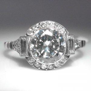 Art Deco Style Diamond Ring - 1.58 cts