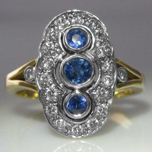 Art Deco Sapphire Shield Ring