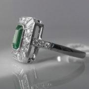 Art Deco Style Emerald & Diamond Ring - 18k White Gold - 1.56cts