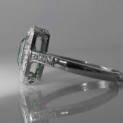 Art Deco Style Emerald & Diamond Ring - 18k White Gold - 1.56cts