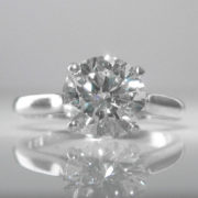 Certified - Solitaire Diamond Ring in Platinum - 2.03 Carats