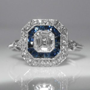 Asscher Cut Diamond and Sapphire Ring