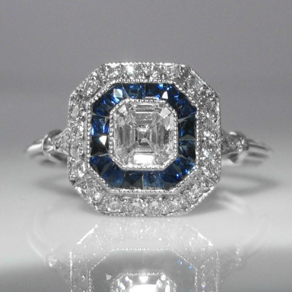 itm cz size asscher band amp engagement set princess sapphire rings cut white bbbd