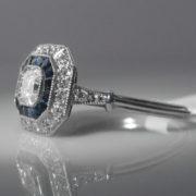 Asscher Cut Diamond and Sapphire Ring