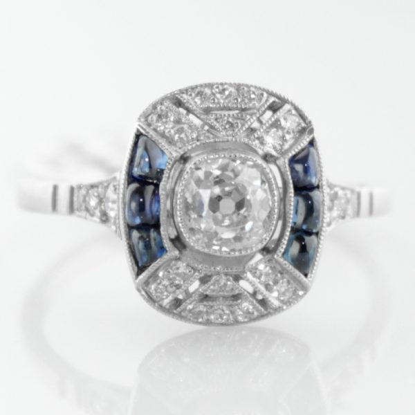 Art Deco Style Sapphire and Diamond Ring in Platinum