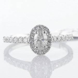 Diamond Halo Ring in 18k White Gold