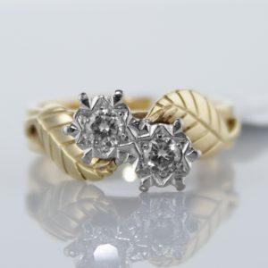 Two Stone Diamond Twist Ring in 18k Yellow Gold