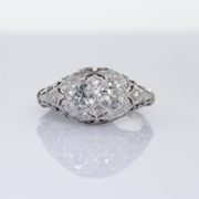 Filigree Diamond Two Stone Diamond Ring