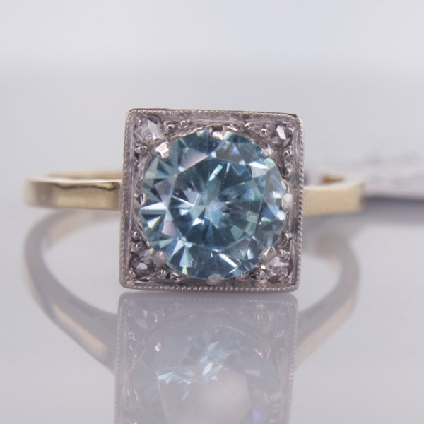 vintage full zircon item c victoria in and ring blue diamond platinum