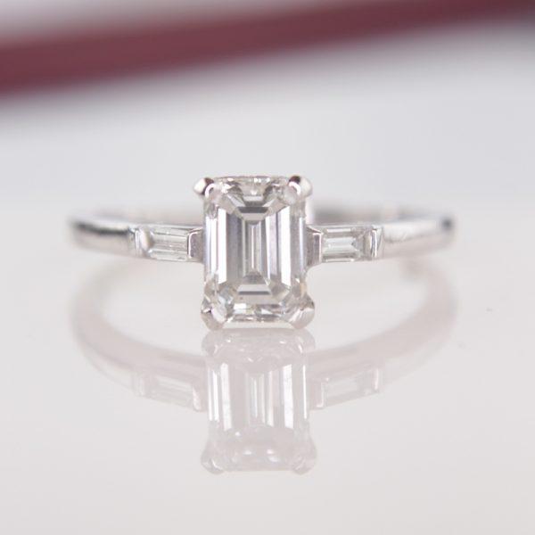 Antique Emerald Cut Diamond Ring