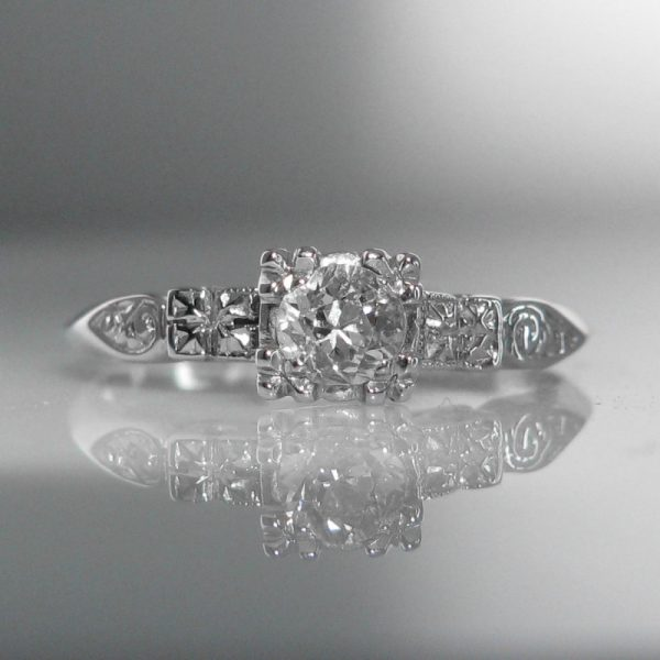 Solitaire Diamond Ring 14k White Gold