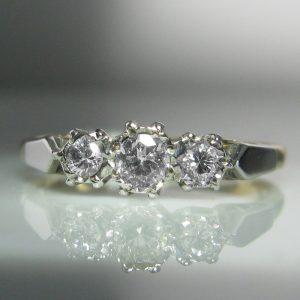 18k Gold And Platinum Three Stone Diamond Ring