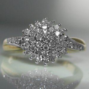 Vintage Diamond Cluster Ring 9k Gold