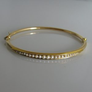 14k Gold Bangle With Seed Pearls, Gold Bracelet, Bracelet, Bangle, Fine Jewellery, Jewellery Shop, Jewellers, Galway