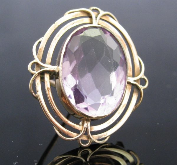 Antique 15k Gold Amethyst Brooch