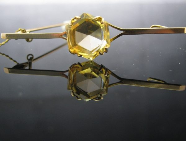 Victorian Style Bar Brooch with Citrine Stone