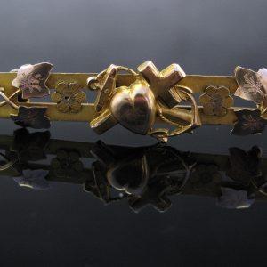 Antique Edwardian 9k Gold Bar Pin Brooch