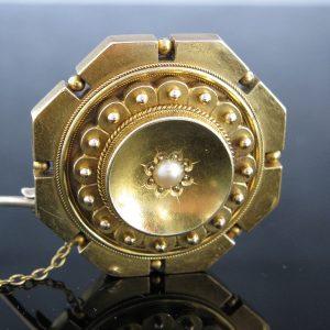 Antique Victorian 15K Pearl Brooch