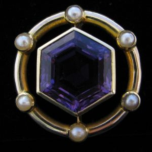 Edwardian Style Amethyst Pearl Brooch