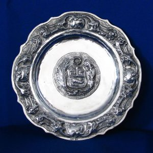 Silver Wall Plaque/ Plate with Peruvian Coat of Arms