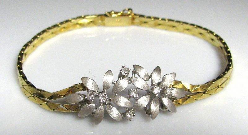 Vintage Diamond & Gold Flower Bracelet