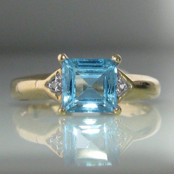 Vintage Topaz And Diamond Ring