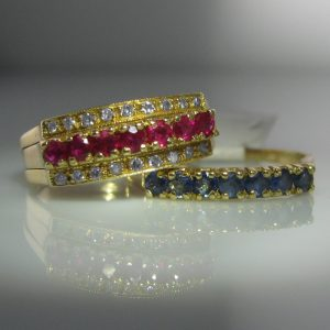 Vintage Diamond, Ruby & Sapphire Inter-Changeable Ring