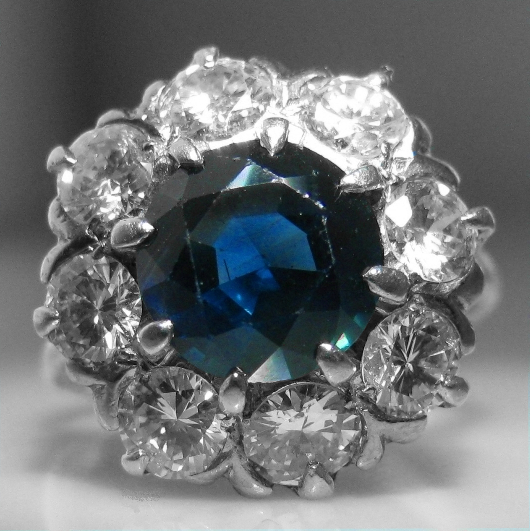 Sapphire Diamond Cluster Ring - 2.0 cts Diamond / 2.4 cts Sapphire