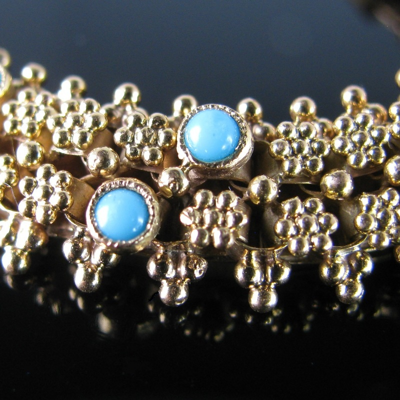 Antique French Bracelet - Gold with Turquoise and Garnet
