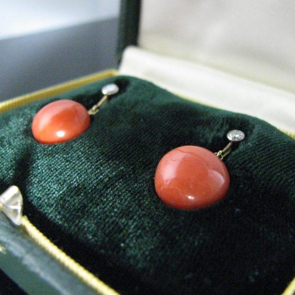 Coral Earrings, Coral And Diamond Earrings, Fine Jewellery, Jewellery Shop, Jewellers, Galway