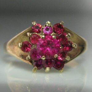 Ruby Cluster Ring - 9k Gold