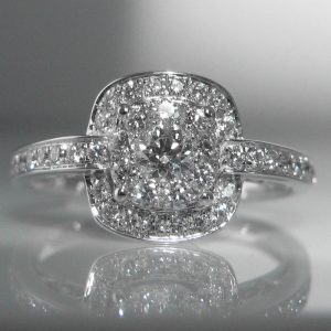 Diamond Halo Ring in 18k White Gold