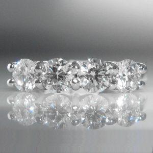Four Stone Diamond Ring in 18k White Gold