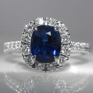 Sapphire and Diamond Halo Ring